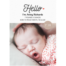 Baby Announcements 5x7 Cards, Premium Cardstock 120lb with Rounded Corners, Card & Stationery -Hello My Heart