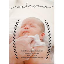 Baby Announcements 5x7 Cards, Premium Cardstock 120lb with Elegant Corners, Card & Stationery -Welcome Laurels