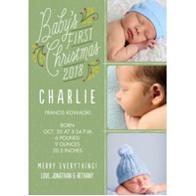 Christmas Photo Cards 5x7 Cards, Premium Cardstock 120lb with Rounded Corners, Card & Stationery -2018 Baby's First Christmas Lettering