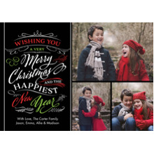 Christmas Photo Cards 5x7 Cards, Premium Cardstock 120lb with Elegant Corners, Card & Stationery -Christmas Wishes Swirls
