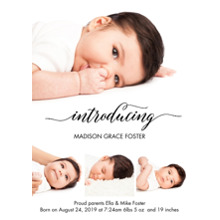 Baby Announcements Set of 20, Premium 5x7 Foil Card, Card & Stationery -Baby Foil Introducing by Tumbalina