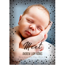 Baby Announcements Set of 20, Premium 5x7 Foil Card, Card & Stationery -Meet Dots Border