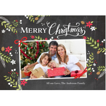 Christmas Photo Cards 5x7 Cards, Premium Cardstock 120lb with Elegant Corners, Card & Stationery -Christmas Rustic Floral Frame