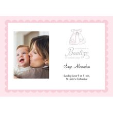 Christening + Baptism 5x7 Cards, Premium Cardstock 120lb with Scalloped Corners, Card & Stationery -Spanish - Fancy Little Dress