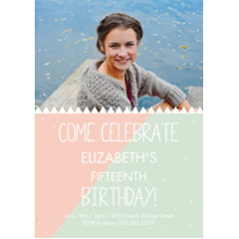 Birthday Party Invites 5x7 Cards, Premium Cardstock 120lb with Rounded Corners, Card & Stationery -Triangle Teen BDay