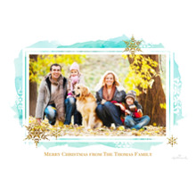Christmas Photo Cards 5x7 Cards, Premium Cardstock 120lb with Rounded Corners, Card & Stationery -Snowflake Watercolor Border