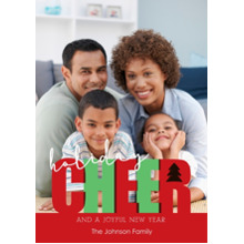 Christmas Photo Cards 5x7 Cards, Premium Cardstock 120lb with Rounded Corners, Card & Stationery -Holiday Cheer Large Photo