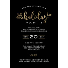 Christmas Party Invitations 5x7 Cards, Standard Cardstock 85lb, Card & Stationery -Holiday Invite Gold Holly