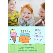 Birthday Party Invites 5x7 Cards, Standard Cardstock 85lb, Card & Stationery -Birthday Party