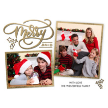 Christmas Photo Cards 5x7 Cards, Premium Cardstock 120lb with Scalloped Corners, Card & Stationery -2018 Merry Script Collage by Tumbalina