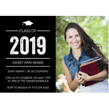 2019 Graduation Announcements 5x7 Cards, Premium Cardstock 120lb with Scalloped Corners, Card & Stationery -2019 Grad Basic by Tumbalina