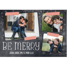 Christmas Photo Cards 5x7 Cards, Premium Cardstock 120lb with Elegant Corners, Card & Stationery -Chalkboard and Washi Tape