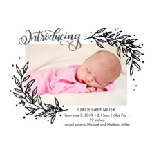 Baby Announcements Set of 20, Premium 5x7 Foil Card, Card & Stationery -Baby Foil Branches by Tumbalina