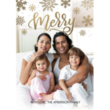 Christmas Photo Cards 5x7 Cards, Premium Cardstock 120lb with Elegant Corners, Card & Stationery -Christmas Merry Gold Snowflakes