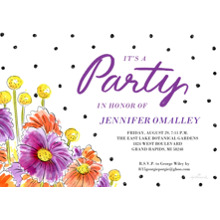 Birthday Party Invites 5x7 Cards, Premium Cardstock 120lb with Scalloped Corners, Card & Stationery -Floral and Dots Party