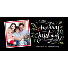 Christmas Photo Cards 4x8 Flat Card Set, 85lb, Card & Stationery -Christmas Script Tilted Snapshots