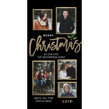 Christmas Photo Cards 4x8 Flat Card Set, 85lb, Card & Stationery -2018 Christmas Framed Collage by Tumbalina