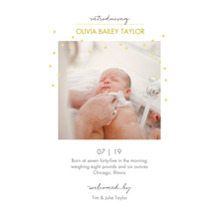 Baby Announcements Flat Matte Photo Paper Cards with Envelopes, 5x7, Card & Stationery -Golden Dots Welcome