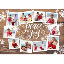 Christmas Photo Cards 5x7 Cards, Premium Cardstock 120lb with Rounded Corners, Card & Stationery -Holiday Peace & Joy Woodgrain