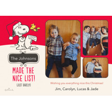 Christmas Photo Cards 5x7 Cards, Premium Cardstock 120lb with Rounded Corners, Card & Stationery -Nice List Snoopy