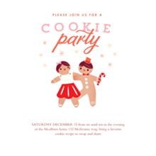Christmas Party Invitations 5x7 Cards, Premium Cardstock 120lb with Scalloped Corners, Card & Stationery -Cookie ParTAY