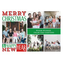 Christmas Photo Cards 5x7 Cards, Premium Cardstock 120lb with Rounded Corners, Card & Stationery -Merry Christmas Grid