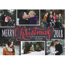 Christmas Photo Cards 5x7 Cards, Premium Cardstock 120lb with Elegant Corners, Card & Stationery -Christmas 2018 Red Script by Tumbalina