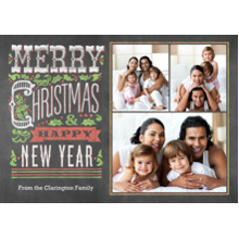 Christmas Photo Cards 5x7 Cards, Premium Cardstock 120lb with Rounded Corners, Card & Stationery -Festive Chalkboard