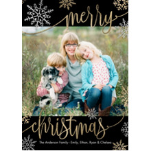 Christmas Photo Cards 5x7 Cards, Premium Cardstock 120lb with Elegant Corners, Card & Stationery -Christmas Merry Script Snowflakes