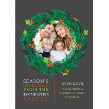 Christmas Photo Cards 5x7 Cards, Premium Cardstock 120lb with Rounded Corners, Card & Stationery -Season???s Greetings Wreath