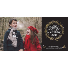 Christmas Photo Cards 4x8 Flat Card Set, 85lb, Card & Stationery -Christmas 2018 Wreath by Tumbalina