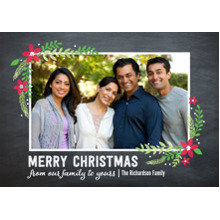 Christmas Photo Cards 5x7 Cards, Premium Cardstock 120lb with Scalloped Corners, Card & Stationery -Christmas Floral Corners