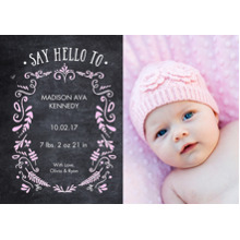 Baby Announcements Flat Glossy Photo Paper Cards with Envelopes, 5x7, Card & Stationery -Baby Foliage Chalkboard 1 Photo