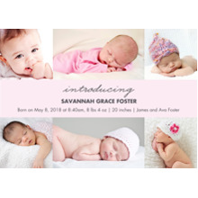 Baby Girl Announcements 5x7 Cards, Premium Cardstock 120lb with Elegant Corners, Card & Stationery -Baby Pink Collage