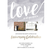 Anniversary Invitations 5x7 Cards, Premium Cardstock 120lb with Rounded Corners, Card & Stationery -Watercolor Love