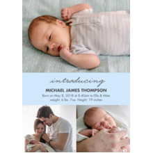 Baby Boy Announcements 5x7 Cards, Premium Cardstock 120lb, Card & Stationery -Baby Blue Collage