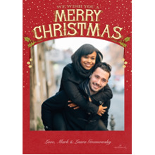 Christmas Photo Cards 5x7 Cards, Premium Cardstock 120lb with Elegant Corners, Card & Stationery -Vintage Merry Christmas