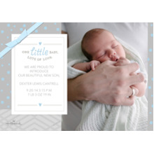 Baby Boy Announcements Flat Glossy Photo Paper Cards with Envelopes, 5x7, Card & Stationery -Lots of Love - Blue