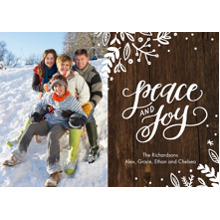 Christmas Photo Cards 5x7 Cards, Premium Cardstock 120lb with Rounded Corners, Card & Stationery -Holiday Rustic Peace & Joy