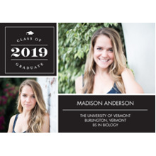 2019 Graduation Announcements 5x7 Cards, Premium Cardstock 120lb with Rounded Corners, Card & Stationery -Graduate 2019 Classic Memories by Tumbalina