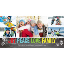Christmas Photo Cards 4x8 Flat Card Set, 85lb, Card & Stationery -Holiday Joy Peace Love Family