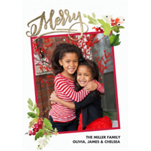 Christmas Photo Cards 5x7 Cards, Premium Cardstock 120lb with Scalloped Corners, Card & Stationery -Christmas Floral Watercolor