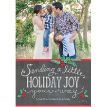 Christmas Photo Cards 5x7 Cards, Premium Cardstock 120lb with Scalloped Corners, Card & Stationery -A Little Holiday Joy