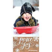 Christmas Photo Cards 4x8 Flat Card Set, 85lb, Card & Stationery -Holiday Peace & Joy Snowflakes