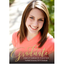 2019 Graduation Announcements 5x7 Cards, Premium Cardstock 120lb with Rounded Corners, Card & Stationery -Graduate Grand Swirl