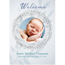 Baby Announcements Set of 20, Premium 5x7 Foil Card, Card & Stationery -Circle Dots Blue