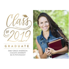 2019 Graduation Announcements 5x7 Cards, Premium Cardstock 120lb with Rounded Corners, Card & Stationery -2019 Brilliant Script by Tumbalina