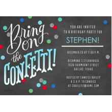 Birthday Party Invites 5x7 Cards, Standard Cardstock 85lb, Card & Stationery -Bring On the Confetti
