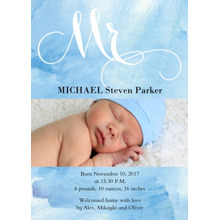 Baby Boy Announcements Flat Glossy Photo Paper Cards with Envelopes, 5x7, Card & Stationery -Watercolor Baby Boy