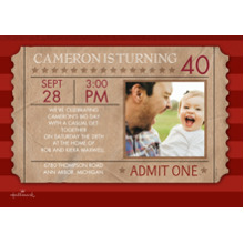 Birthday Party Invites 5x7 Cards, Premium Cardstock 120lb with Rounded Corners, Card & Stationery -Birthday Ticket